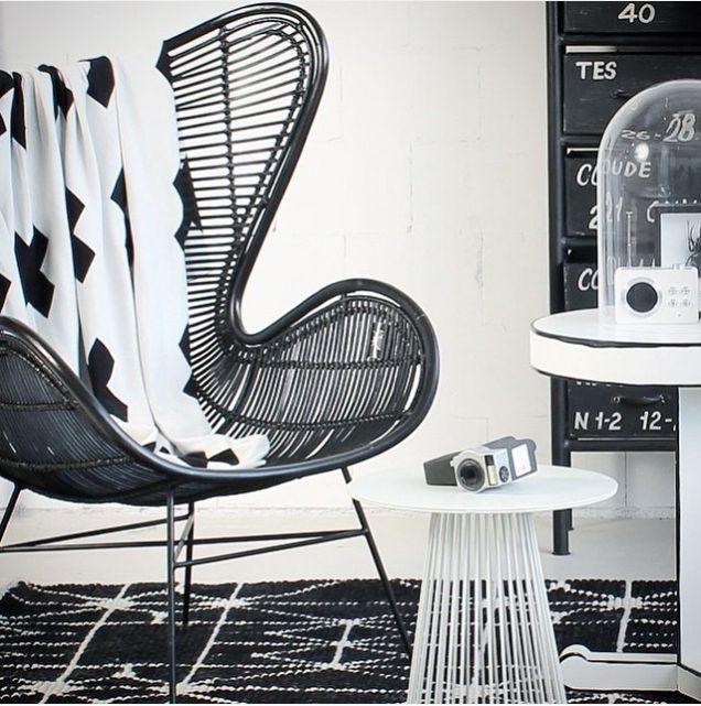 HK Living Rattan egg chair - Black - HK Living