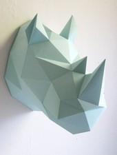 Assembli Trofeo pared Origami Rhino - menta - Assembli