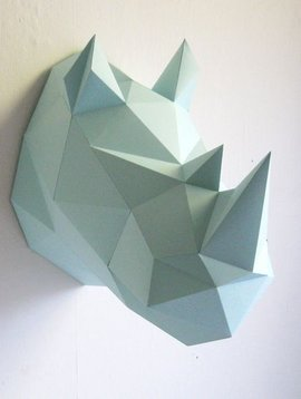 Assembli Wall hanging - Rhino DIY paper kit - mint - Assembli
