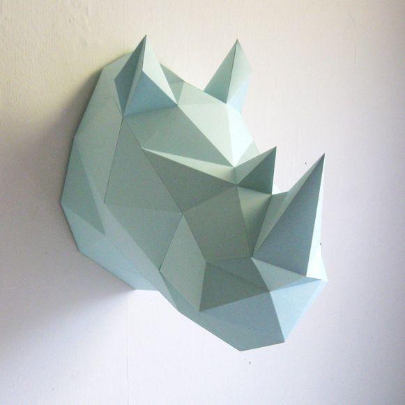 Assembli Throphée origami mural en papier Rhino Menthe- Assembli