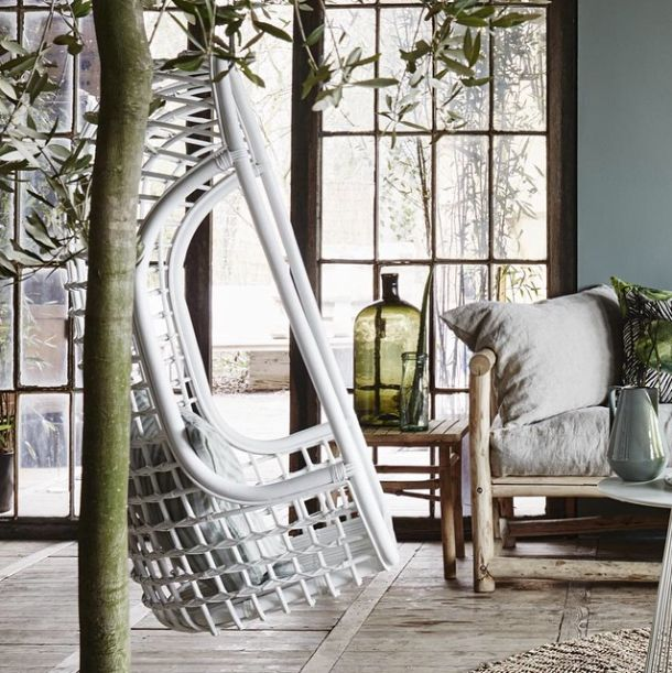 HK Living White rattan Hanging Chair - HK Living