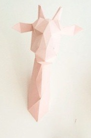 Assembli Trophée origami mural Girafe Rose - Assembli