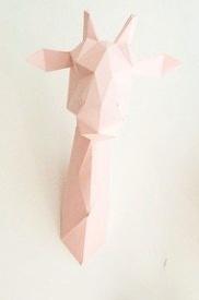 Assembli Wall hanging - giraffe DIY paper kit - pink - Assembli
