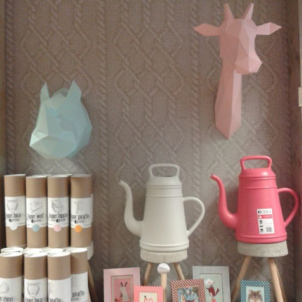 Assembli Trofeo pared Origami jirafa - rosa - Assembli