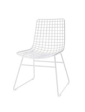 HK Living Scandinavian white metal chair - HK Living
