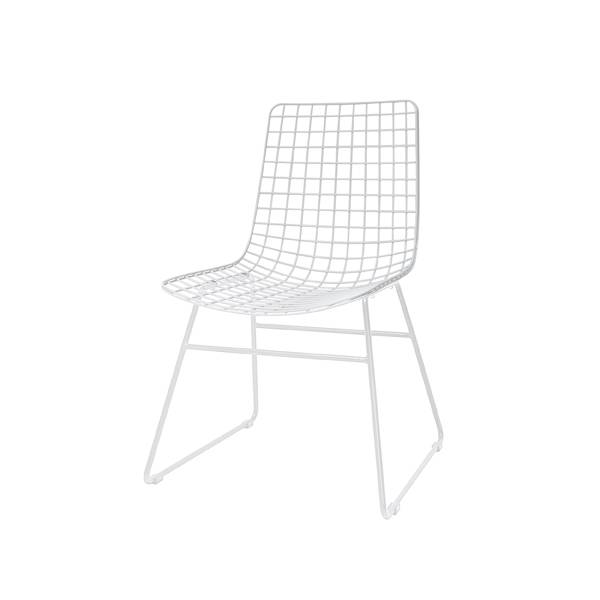 HK Living Scandinavian white metal chair - HK Living