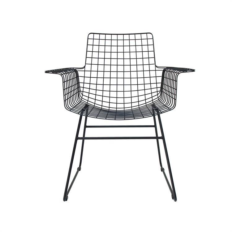 HK Living Scandinavian black metal chair WITH ARMS - HK Living