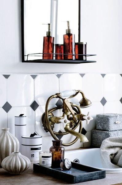 Broste Copenhagen Miroir et tablette 'Talja' - métal - antique noir - Broste Copenhagen