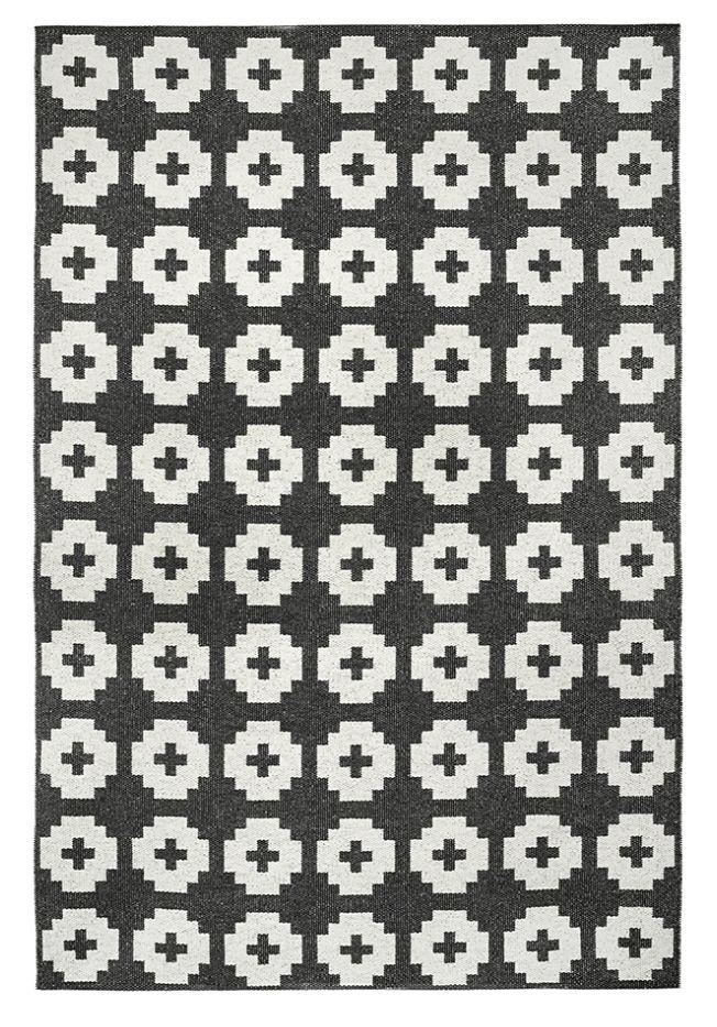 Brita Sweden Vinyl carpet 'Flower' - black - 170x250 cm - Brita Sweden