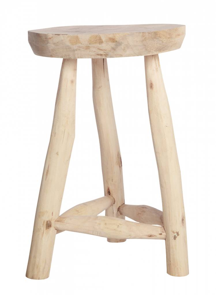 House Doctor Ethnic Stool   Natural Wood   Ø31cm / H48cm   House Doctor ...
