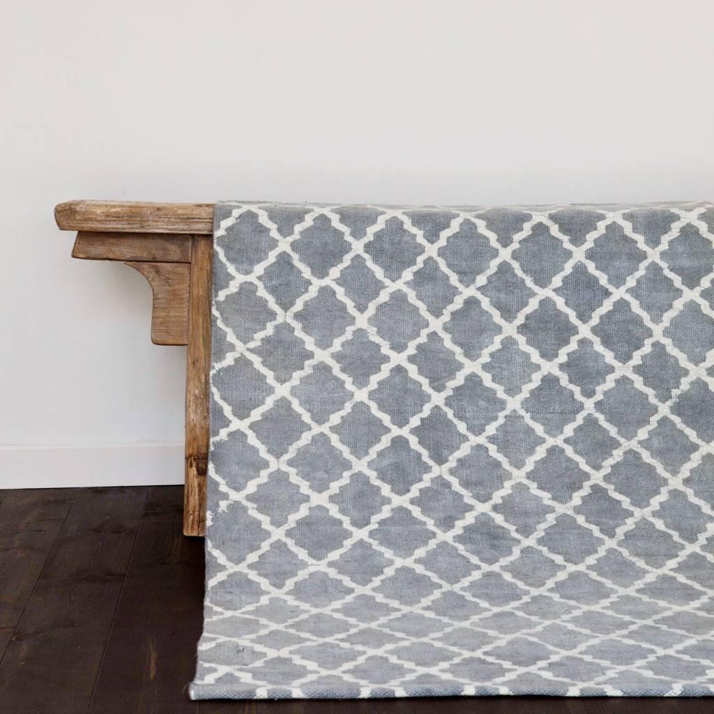 Tell me more alfombra de algod n prelavado azul - Alfombras de algodon ...