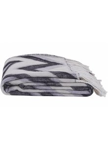 House Doctor Plaid 'Zig Zag' - negro / blanco / gris - 130x170cm - House Doctor