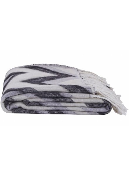 House Doctor Plaid 'Zig Zag' - noir / blanc / gris - 130x170cm - House Doctor
