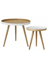 Bloomingville Conjunto 2 mesas de café nordicas - redonda - bambú - Bloomingville