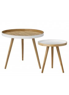 Bloomingville Set of 2 round scandinavian coffee tables - bamboo - Bloomingville