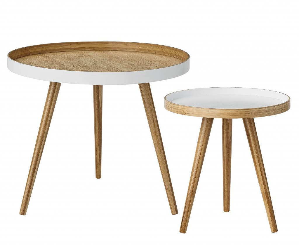 Set of 2 round tables scandinavian coffee bamboo for Petite table scandinave