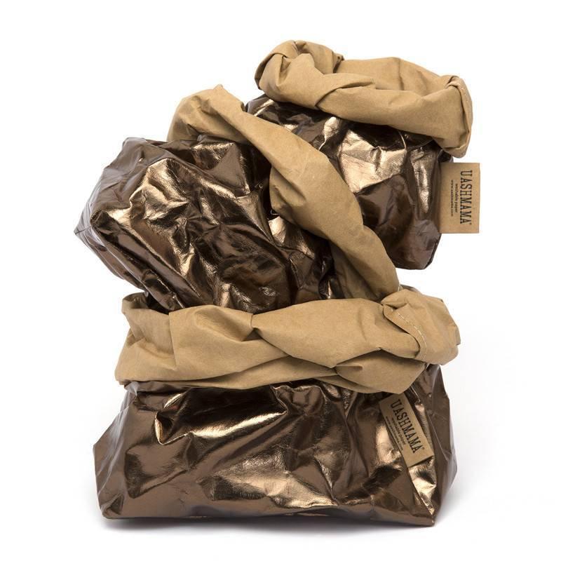 Uashmama Washable Paper Bag - Laminated Bronze - Uashmama