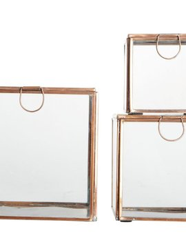 House Doctor Set of 3 souvernir boxes - glass / copper - House Doctor
