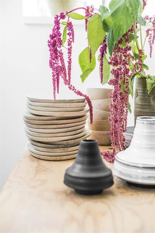 HK Living Set de 2 assiettes en bois naturel - ∅24 - 30 cm - HK Living