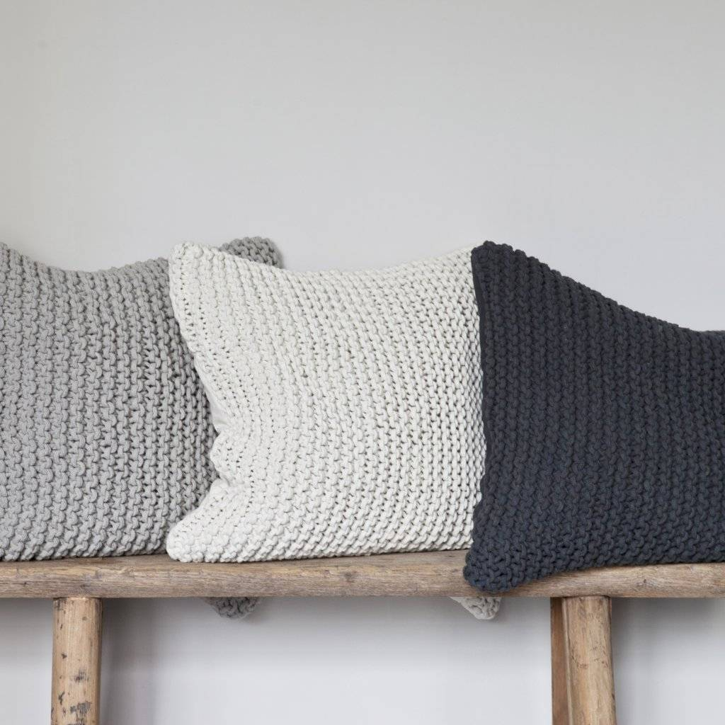 Tell me more Knitted rope cushion cover - 100% cotton - dark grey - Tell Me More