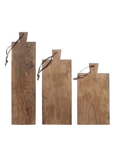 HK Living Set of 3 breadboards in teck - natural - HK Living