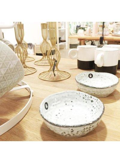 HK Living Set of 4 porcelain mugs Scandinavian 'dip' - black and white - HK Living
