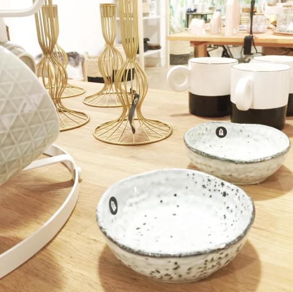 HK Living Juego de 4 tazas de porcelana 'Dip' - Blanco y Negro - HK Living