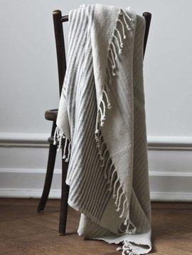 Tell me more Scandinavian plaid FÅRÖ in wool with dark grey stripes - Tell Me More