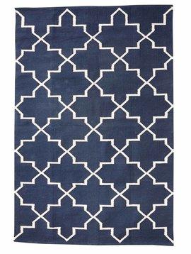 Hubsch Interior Alfombra Nórdica de algodón - Azul et Natural - 120X180cm - Hubsch Interior