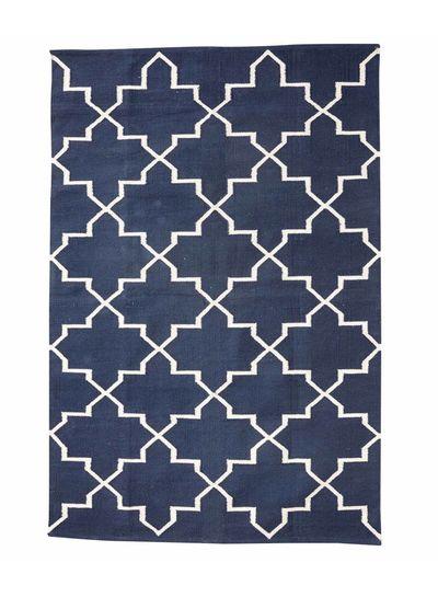 Hubsch Interior Alfombra Nórdica de algodón - Azul et Natural - 120X180cm - Hübsch Interior