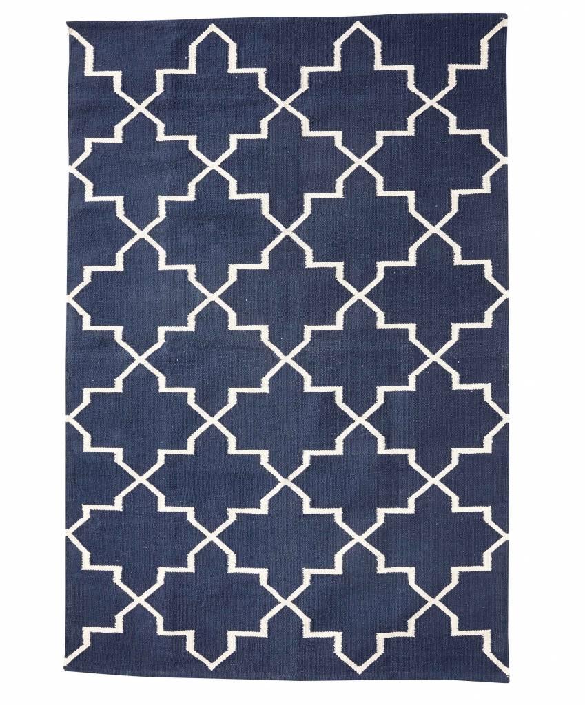 Hubsch interior alfombra n rdica de algod n azul et natural 120x180cm h bsch interior - Alfombras nordicas ...