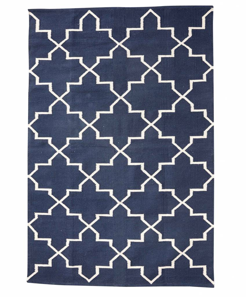 hubsch interior tapis scandinave en coton bleu naturel 120x180cm h bsch interior petite. Black Bedroom Furniture Sets. Home Design Ideas