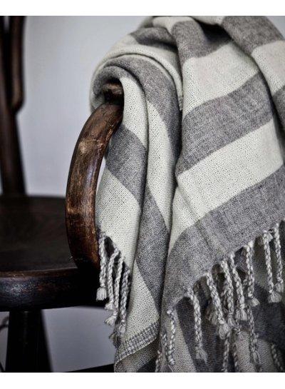 Tell me more Plaid de lana a rayas gris - Tell Me More