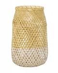 Bloomingville Lanterna Bambú y vidrio - Ø18 - H30cm - natural y blanco - Bloomingville