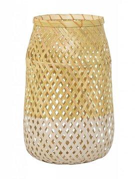 Bloomingville Lanterne bambou et verre - Ø18 - h30cm - naturel et blanc - Bloomingville