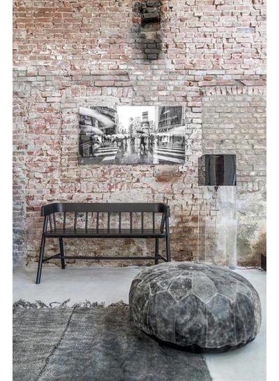 HK Living Tapis Scandinave en lin lavé à la pierre - gris foncé - 155x215cm - HK Living