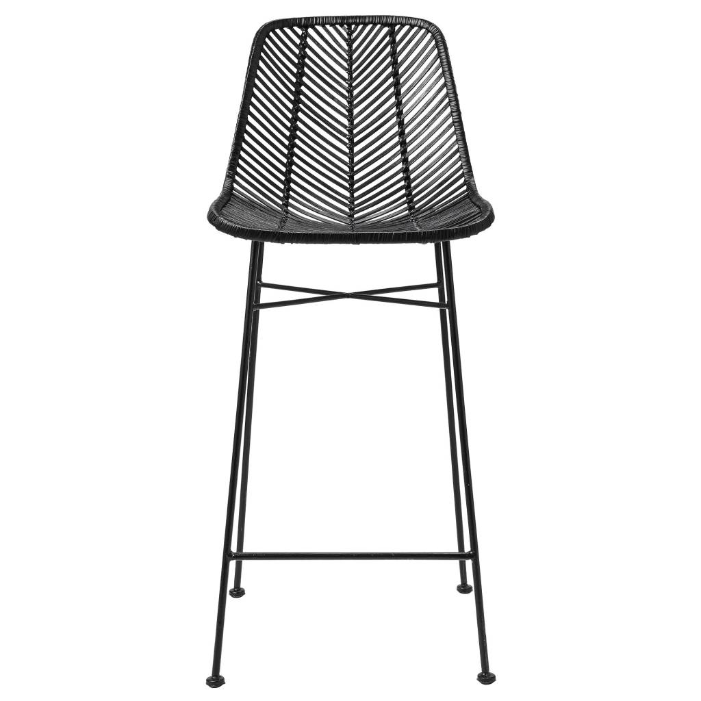 tabouret de bar en rotin noir hk living petite lily interiors. Black Bedroom Furniture Sets. Home Design Ideas