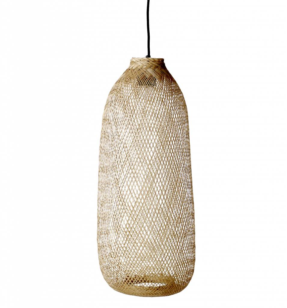 Lampe suspension bambou naturel 24xh65cm bloomingville petite lily i - Suspension luminaire bambou ...