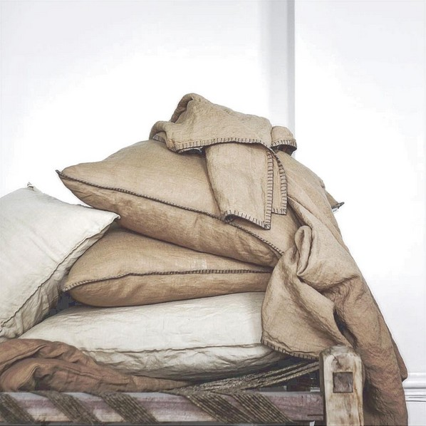 Tell me more Thrown Lyon - Sand and Grey - 100% Linen - 90x120cm - Tell Me More