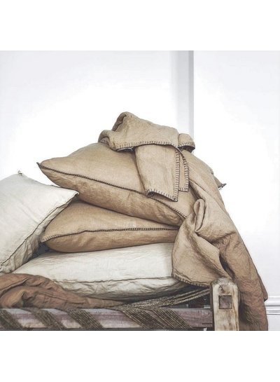 Tell me more Coussin Lyon - Sable Terre d'Ombre - 100% Lin - 60x60cm - Tell Me More