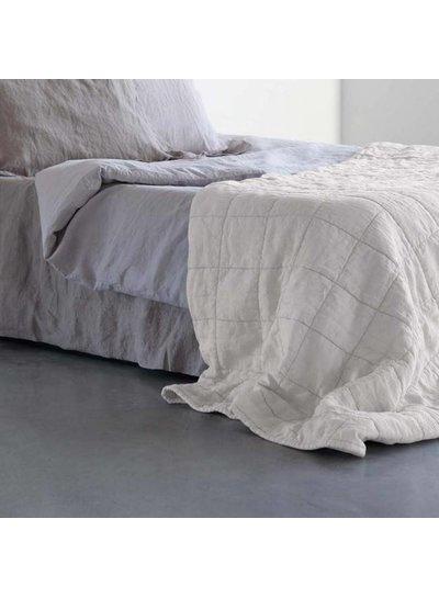 House in Style Plaid / Couvre-lit lin lavé 'Nice' - marbre / blanc cassé - 250x260cm - House in Style