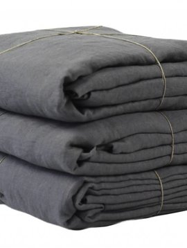 Tell me more Duvet cover 100% stonewashed linen - 220x240 - dark grey - Tell me more