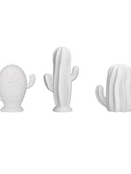 Bloomingville Colección de 3 Cactus en Porcelana - Blanco Mate - H17 cm - Bloomingville