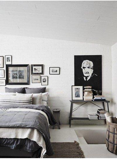 Scandinavian decor with gray bedding - Seen on Pinterest