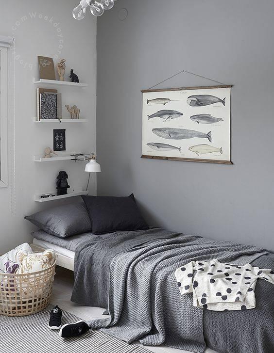 Déco Scandinave avec literie de couleur grise - Vu sur Pinterest