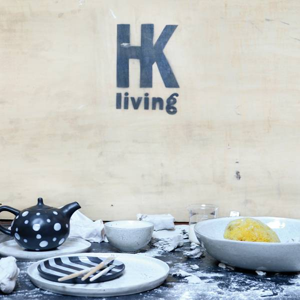 HK Living Ceramic teapot - black and white - HK Living