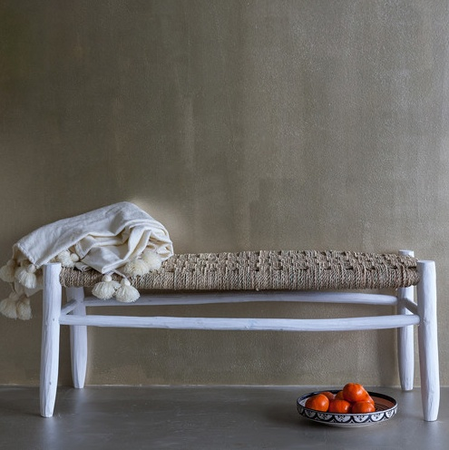 Household Hardware Morrocan bench in white wood - L - House Hold Hardware
