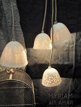 Myriam Ait Amar Ceramics ceramic lamp with engraved inside - big pattern peas - Myriam Ait Amar Ceramics