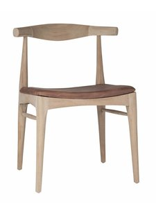 Uniqwa Furniture Dinning Chair 'horn' in Plantation teak and leather - Natural / Brown - Uniqwa Furniture