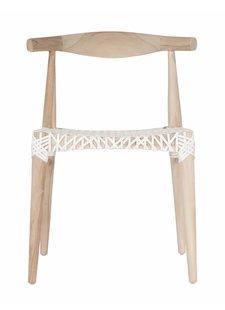 Uniqwa Furniture Chaise Plantation Teck et cuir 'Sweni Horn' - Naturel et Blanc - Uniqwa Furniture